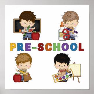 De nuevo a muchacho del preescolar de la escuela póster