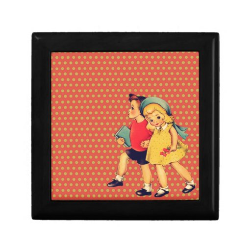 de nuevo a niños retros del vintage del kitsch del joyero cuadrado pequeño