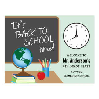 De nuevo a tiempo de la escuela profesor tarjeta postal