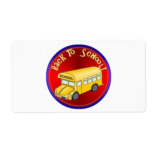 De nuevo al autobús escolar etiqueta de envío