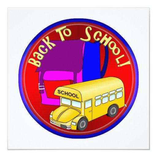 """De nuevo al autobús escolar y a la mochila rosada invitación 5.25"""" x 5.25"""""""