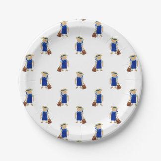 De nuevo al modelo de la escuela de colegialas plato de papel de 7 pulgadas