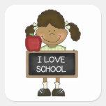 De nuevo al regalo de la escuela primaria de la es calcomanias cuadradas