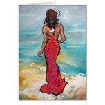 """""""De nuevo pintura de la playa"""" en tarjeta de felic"""