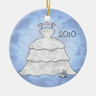 """De """"ornamento del tafetán 3 gradas"""" adorno navideño redondo de cerámica"""