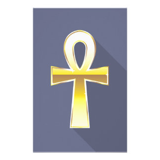 De oro cruzado egipcio de Ankh Personalized Stationery