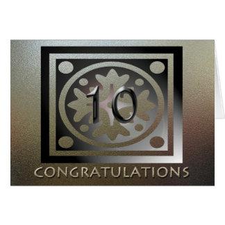 De oro elegante del 10mo aniversario del empleado tarjeta de felicitación