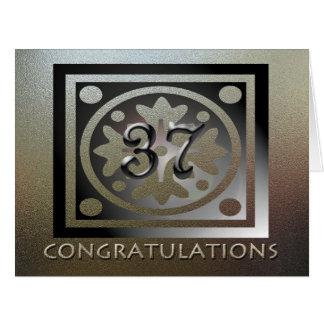 De oro elegante del 37.o aniversario del empleado tarjeta de felicitación grande