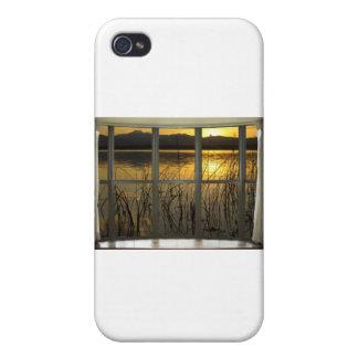 de oro-gemelo-pico-lago-ventana-vista iPhone 4 fundas