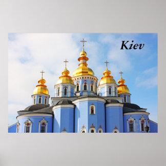 De oro hace frente en de catedral en Kiev, Kiev Poster