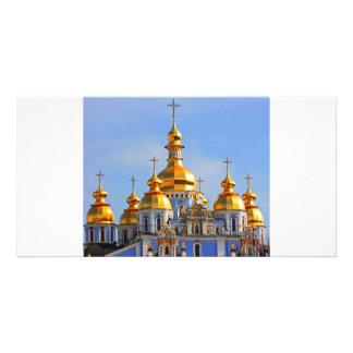 De oro hace frente en de catedral en Kiev Tarjetas Con Fotos Personalizadas