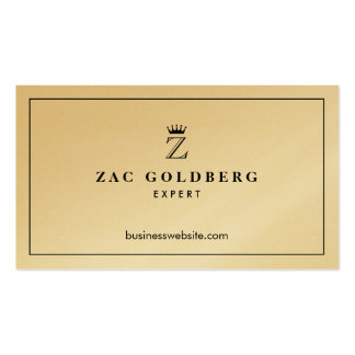 De oro lujoso del monograma de la corona tarjetas de visita