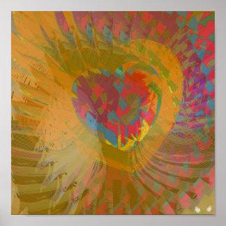 De oro multicolor de las alas angelicales de la am posters