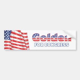 De oro para el diseño patriótico de la bandera ame pegatina de parachoque