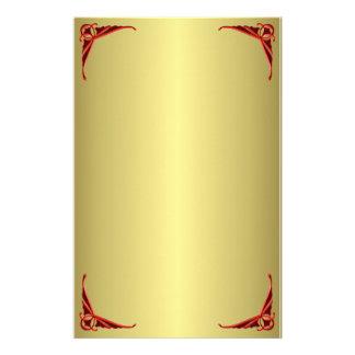 De oro y rojo decorativos personalized stationery