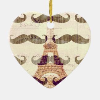 De París con el bigote Adorno Navideño De Cerámica En Forma De Corazón