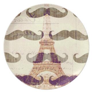 De París con el bigote Plato Para Fiesta