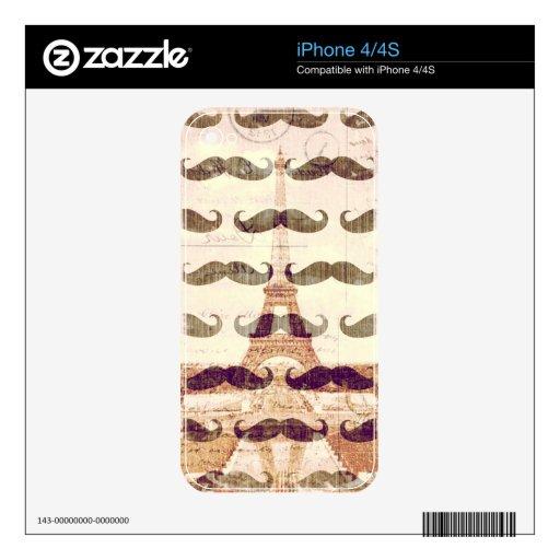 De París con el bigote Skins Para eliPhone 4