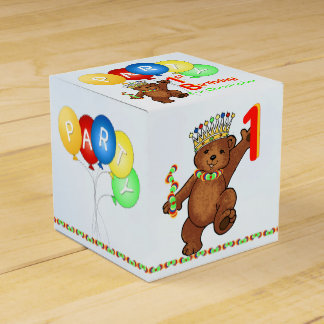 De peluche del oso 1ra cumpleaños fiesta del cajas para regalos
