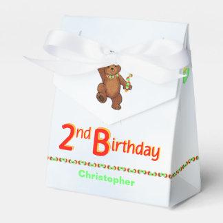 De peluche del oso 2do cumpleaños personalizado de caja para regalos de fiestas