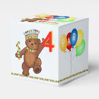 De peluche del oso 4to cumpleaños personalizado de cajas para regalos de fiestas