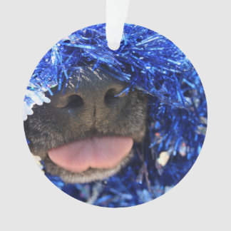 De perro de la nariz de la lengua malla azul negra