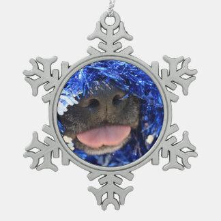 De perro de la nariz de la lengua malla azul negra adornos