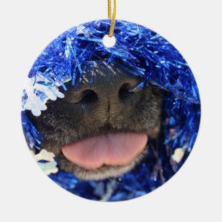 De perro de la nariz de la lengua malla azul negra ornamento para reyes magos