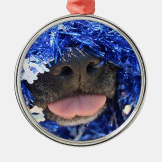 De perro de la nariz de la lengua malla azul negra ornamentos de navidad