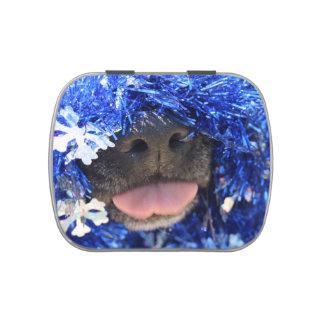 De perro de la nariz de la lengua malla azul negra frascos de dulces