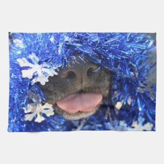 De perro de la nariz de la lengua malla azul negra toalla