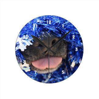 De perro de la nariz de la lengua malla azul negra relojes de pared