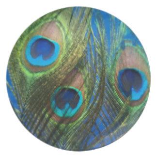 De pescados del ojo todavía del pavo real vida platos para fiestas