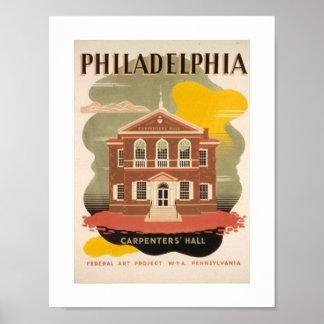 De PHILADELPHIA de los CARPINTEROS vieja WPA image Posters