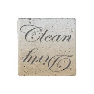 De piedra elegantes limpian/plato sucio de la imán de piedra