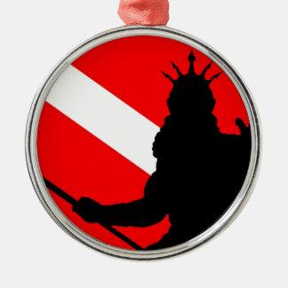 ` de Poseidon II de la bandera de la zambullida Adorno Navideño Redondo De Metal