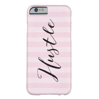 """""""Dé prisa"""" el caso rayado rosado de Iphone 6 Funda Para iPhone 6 Barely There"""