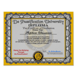 De Pussification University Diploma Poster