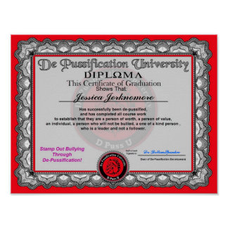 De Pussification University Diploma Posters