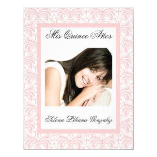 """De Quinceanera del damasco rosa y blanco rosados Invitación 4.25"""" X 5.5"""""""