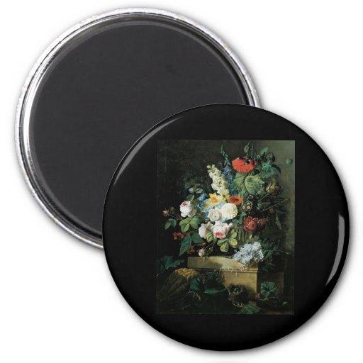 De Redoute todavía de las flores vida elaborada Imán Redondo 5 Cm