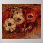 De Renoir todavía de las anémonas vida Póster