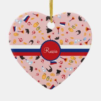 De Rusia con el modelo del ruso del amor Adorno Navideño De Cerámica En Forma De Corazón