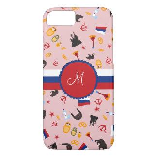 De Rusia con el monograma del ruso del amor Funda iPhone 7