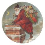 De Santa de la galleta de la placa del Viejo Mundo Platos Para Fiestas