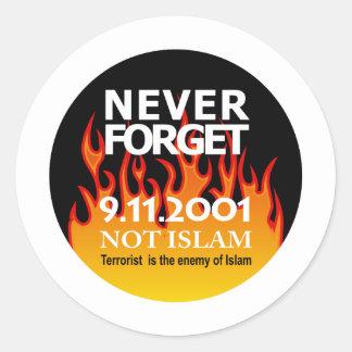 De sept. el 11 de 2001 de la conmemoración pegatina redonda