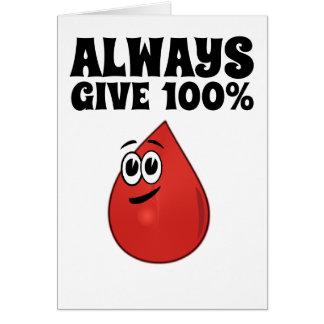 Dé siempre 100%, a menos que usted esté donando tarjeta de felicitación