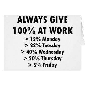 Dé siempre 100% en el trabajo tarjeta de felicitación