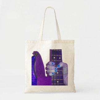 Dé sostener la guitarra baja foto azul y púrpura bolsa tela barata