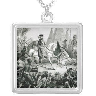 De Soto Discovering the Mississippi Square Pendant Necklace